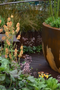 Rusty colours and, er, rust were used really effectively in the Dark Matter Garden by Howard Miller Design Ltd