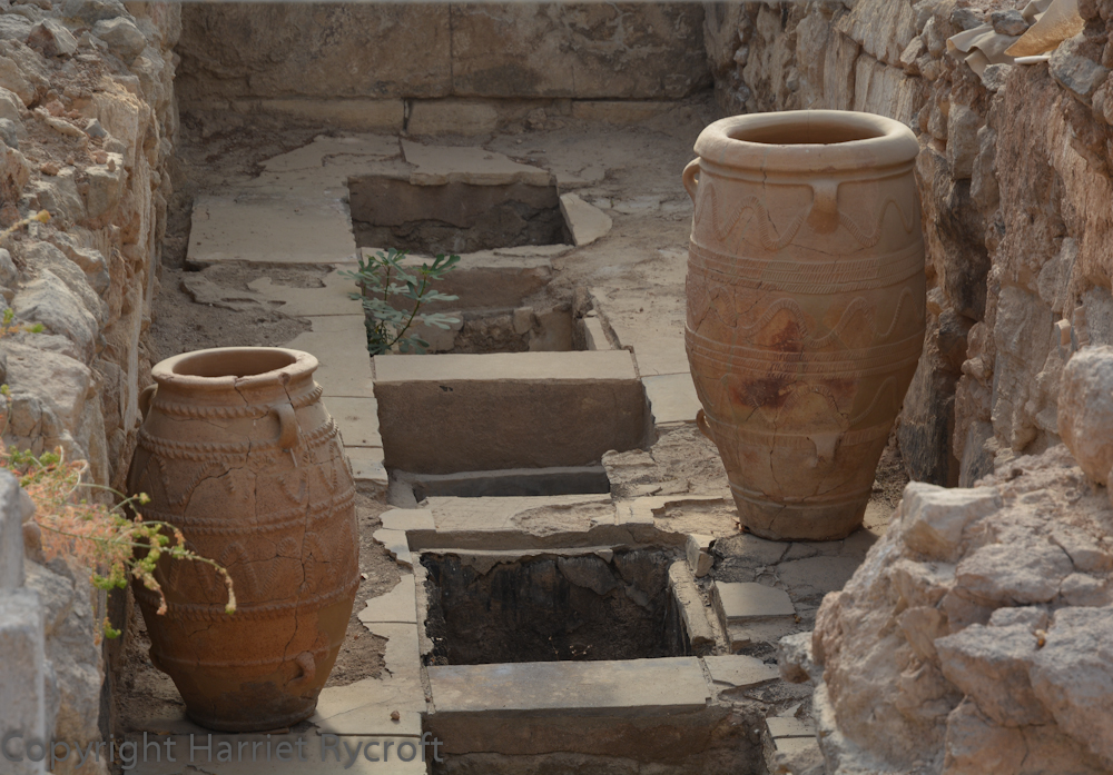 Pithoi in storage rooms at Knossos
