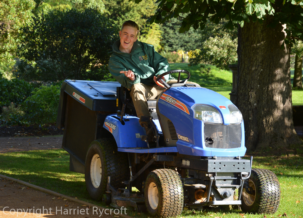 Much of the mowing is done first thing in the morning, before the visitors arrive. OK Jimmy, you can stop posing now.