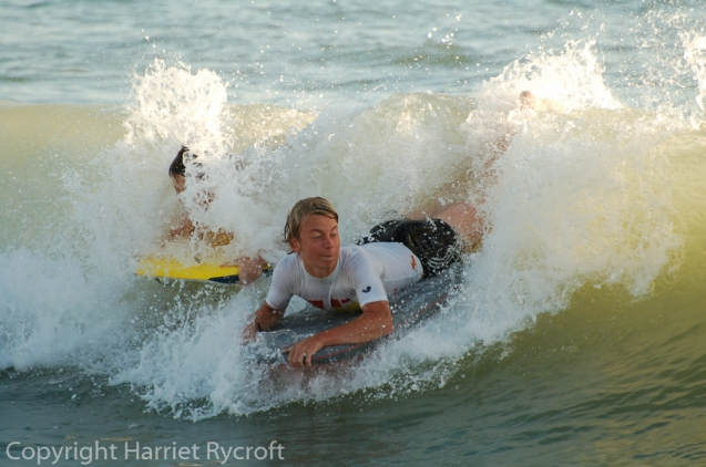 My boys bodyboarding