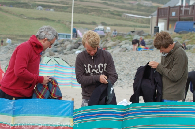 Getting ready to go in. Note windbreaks... Whitesands, Pembrokeshire