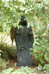 The Grim Reaper in a garden in New Zealand