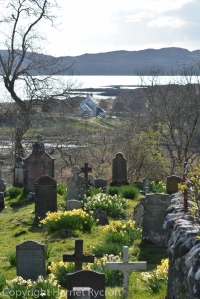 Graveyard with a fine view in Arisaig, Scotland.