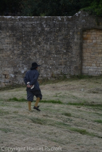 Sixteenth century peasant about to walk through a wall at Chipping Campden Banqueting House