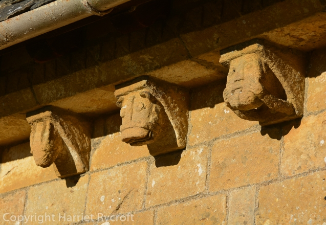 12thC corbels - from the time of the Knights Templar (hence Temple Guiting). Is that one on the left a rabbit or a badger?