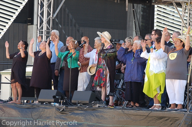 Waitangi Day 2014. The Mayor, Celia Wade-Brown and other dignitaries. Speeches and greetings in Maori and English.